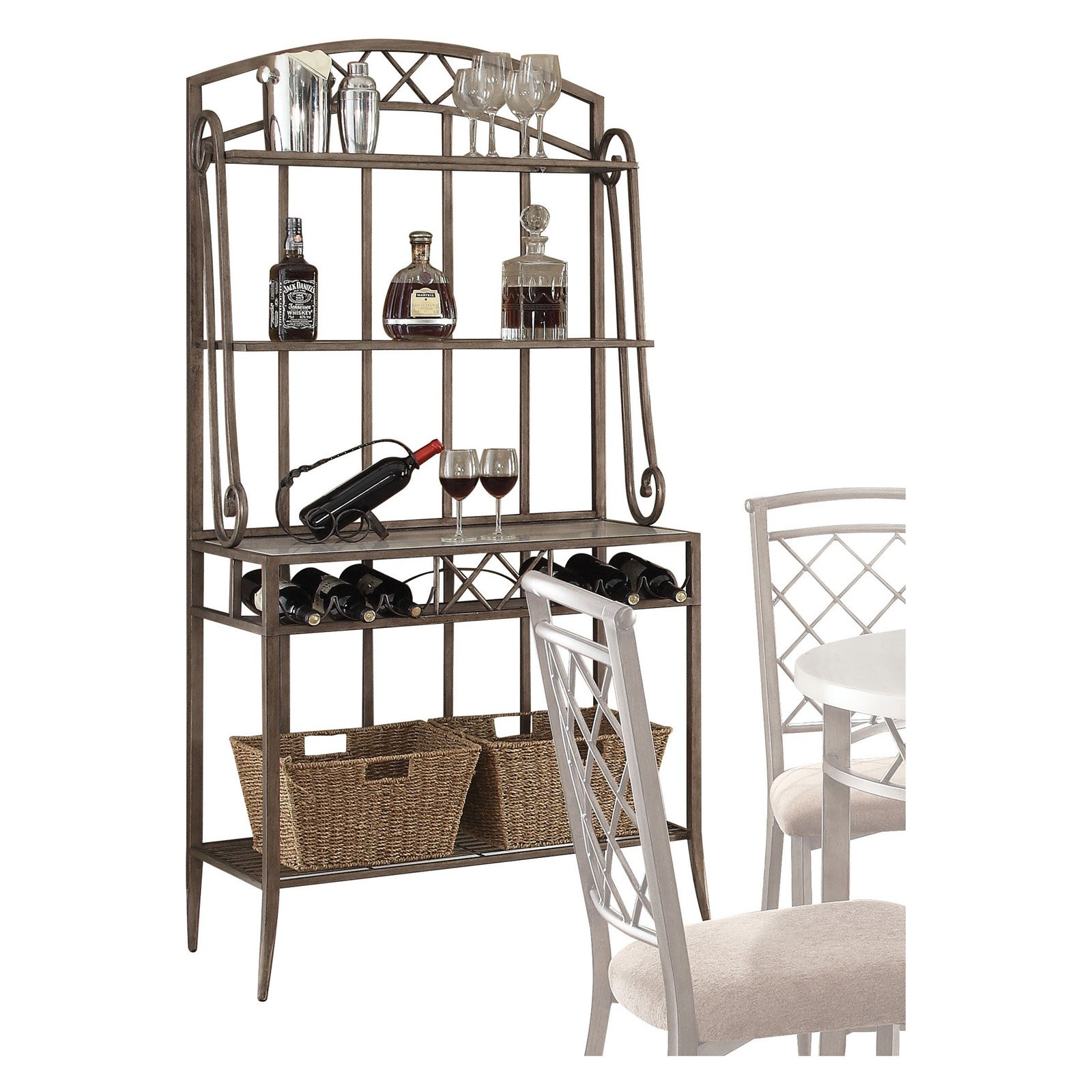 ACME Aldric Baker's Rack, Faux Marble & Antique
