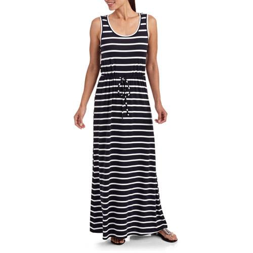 Stitch Women's Tie Waist Stripe Maxi Dress