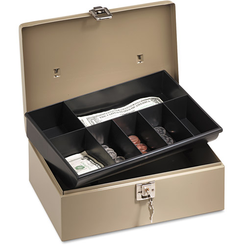 Lock'n Latch Steel Cash Box with 7 Compartments, Pebble Beige