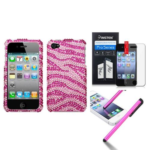 Insten Zebra Skin (Pink/Hot Pink) Diamond Case Bling Hard For iPhone 4 4s+Film+Pen
