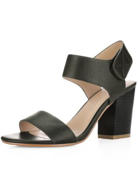 b00ad608c5c Product Image Unique Bargains Women s Hook and Loop Stacked High Heel Ankle  Strap Sandals Black (Size 6