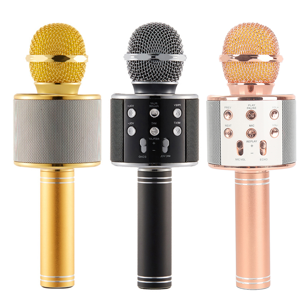 WS858 Handheld Wireless Bluetooth Karaoke Microphone Speaker Home KTV Music Singing Player Support TF Card for Smart Phone and Computer