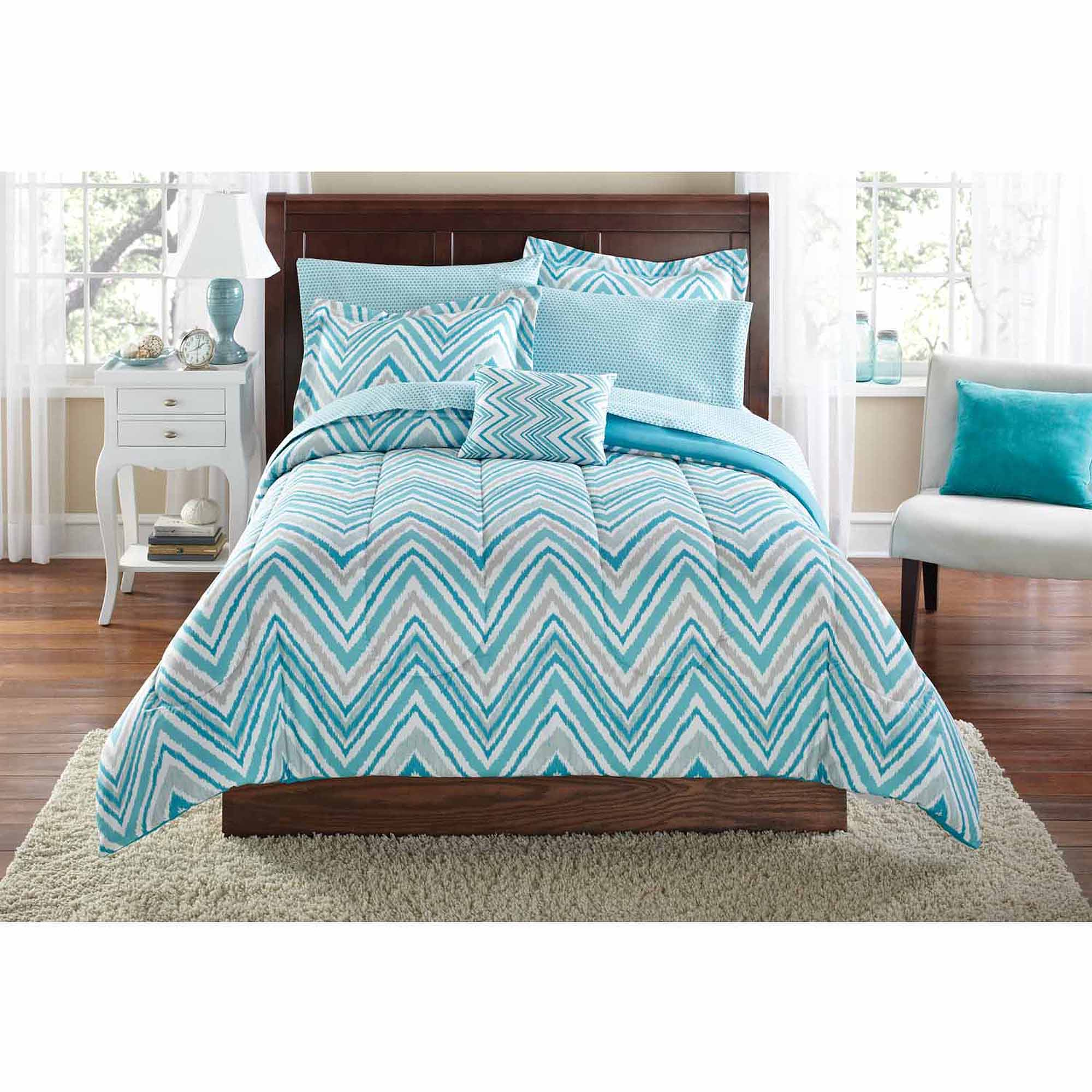 Bedding sets turquoise - Mainstays Watercolor Chevron Bed In A Bag Coordinated Bedding Set Walmart Com