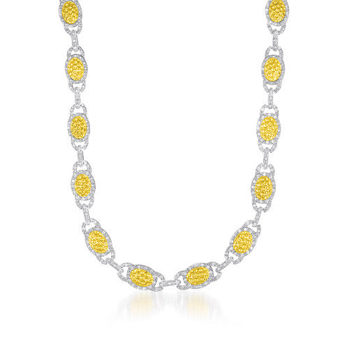 Rozzato Sterling Silver Cubic Zirconia and Oval Hammered And Rhodium Link Necklace