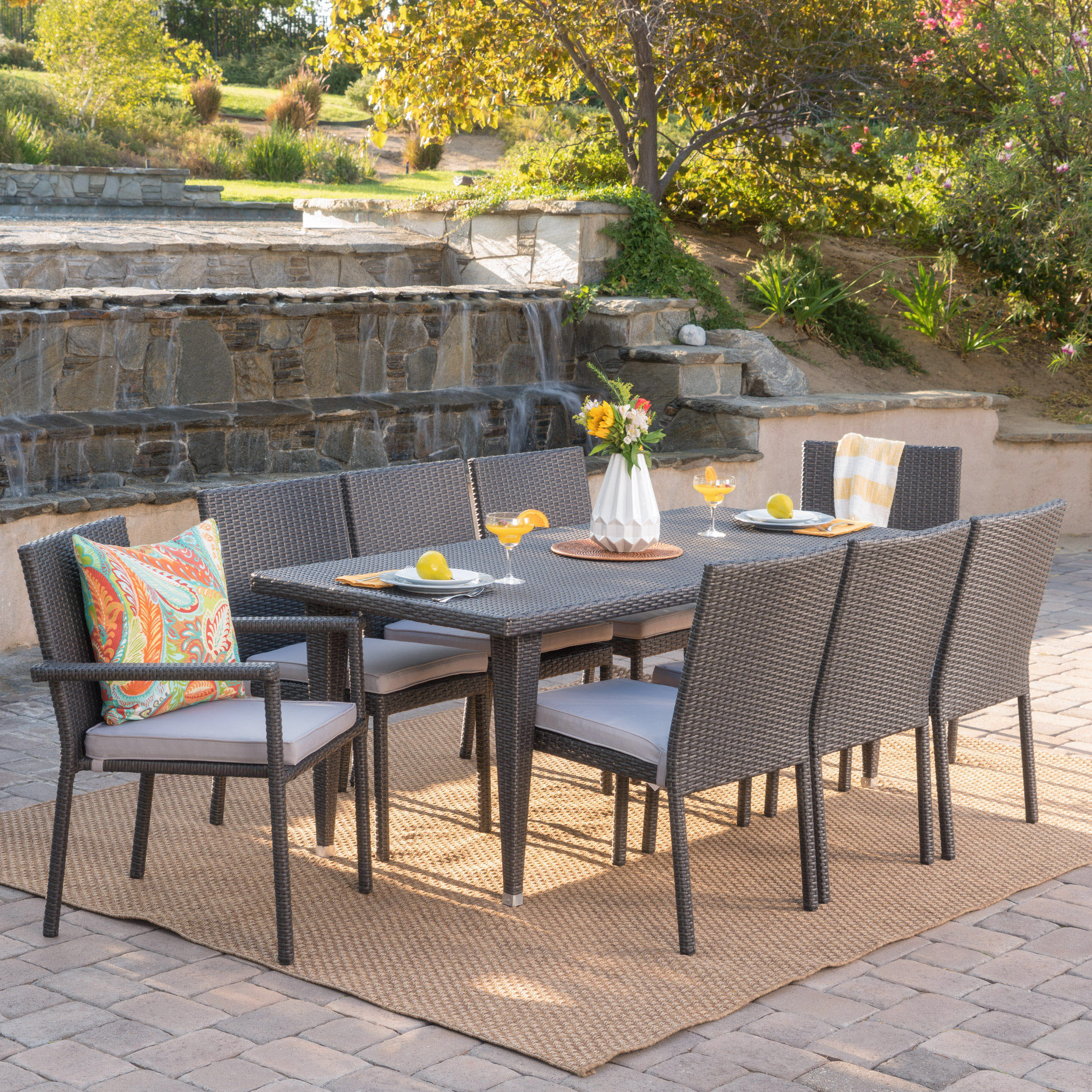 Granger Outdoor 9 Piece Wicker Rectangular Dining Set with Cushions, Grey, Silver