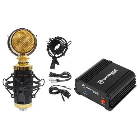 Rockville RCM02 Studio Recording Condenser Microphone+Phantom Power Supply (Powered Condenser Microphone)