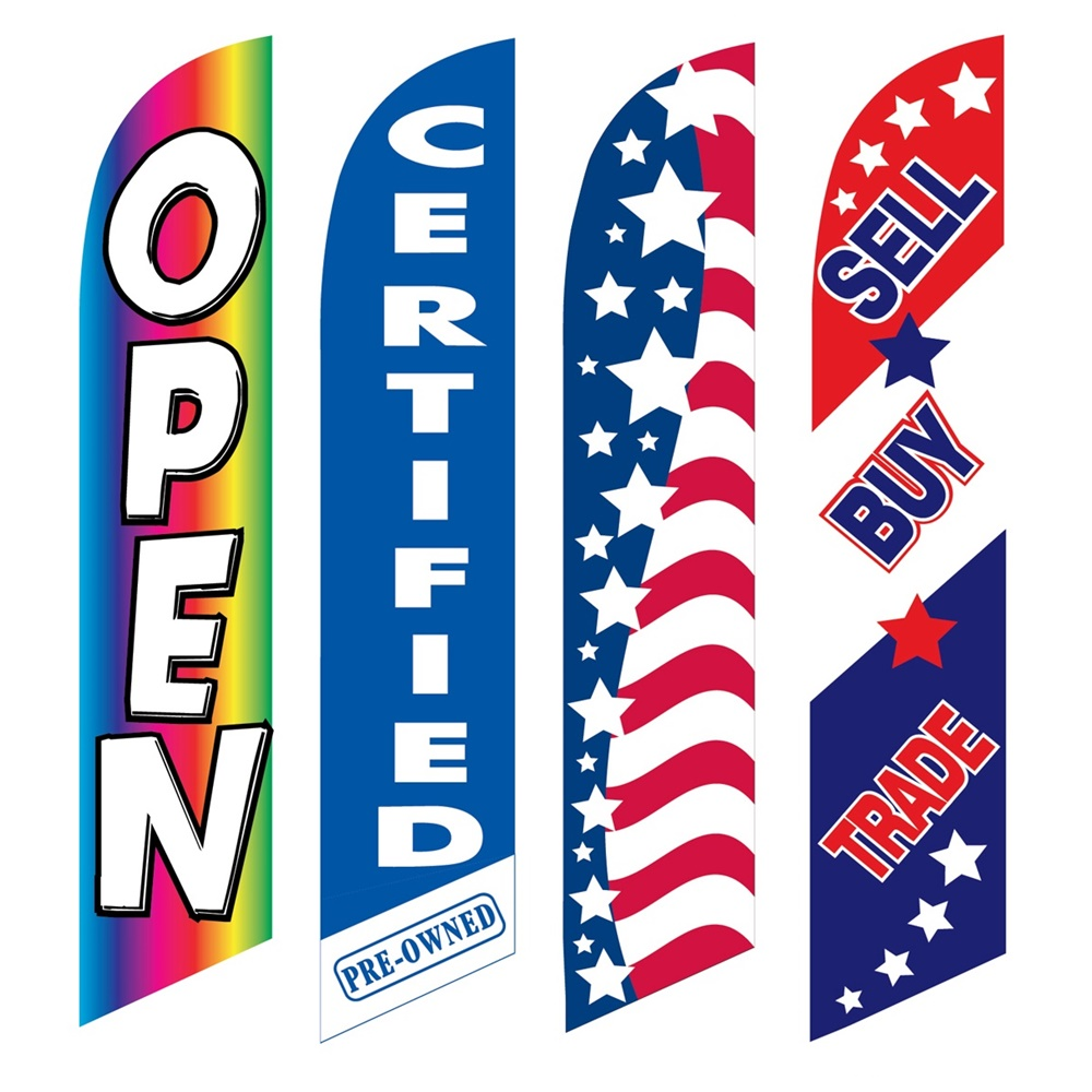 4 Advertising Swooper Flags Open Certified Pre Owned Patriotic Sell Buy Trade