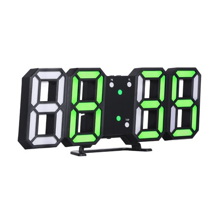 3D LED Digital Clock Glowing Night Mode Brightness Adjustable Electronic Table Clock 24/12 Hour Display Alarm Clock Wall Hanging
