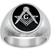 Stainless Steel Masonic Oval Textured Ri