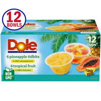 Dole Fruit Bowls Variety Pack Tropical Fruit and Pineapple Tidbits in 100% Fruit Juice, 4 Oz Bowls, 12 Cups of Fruit