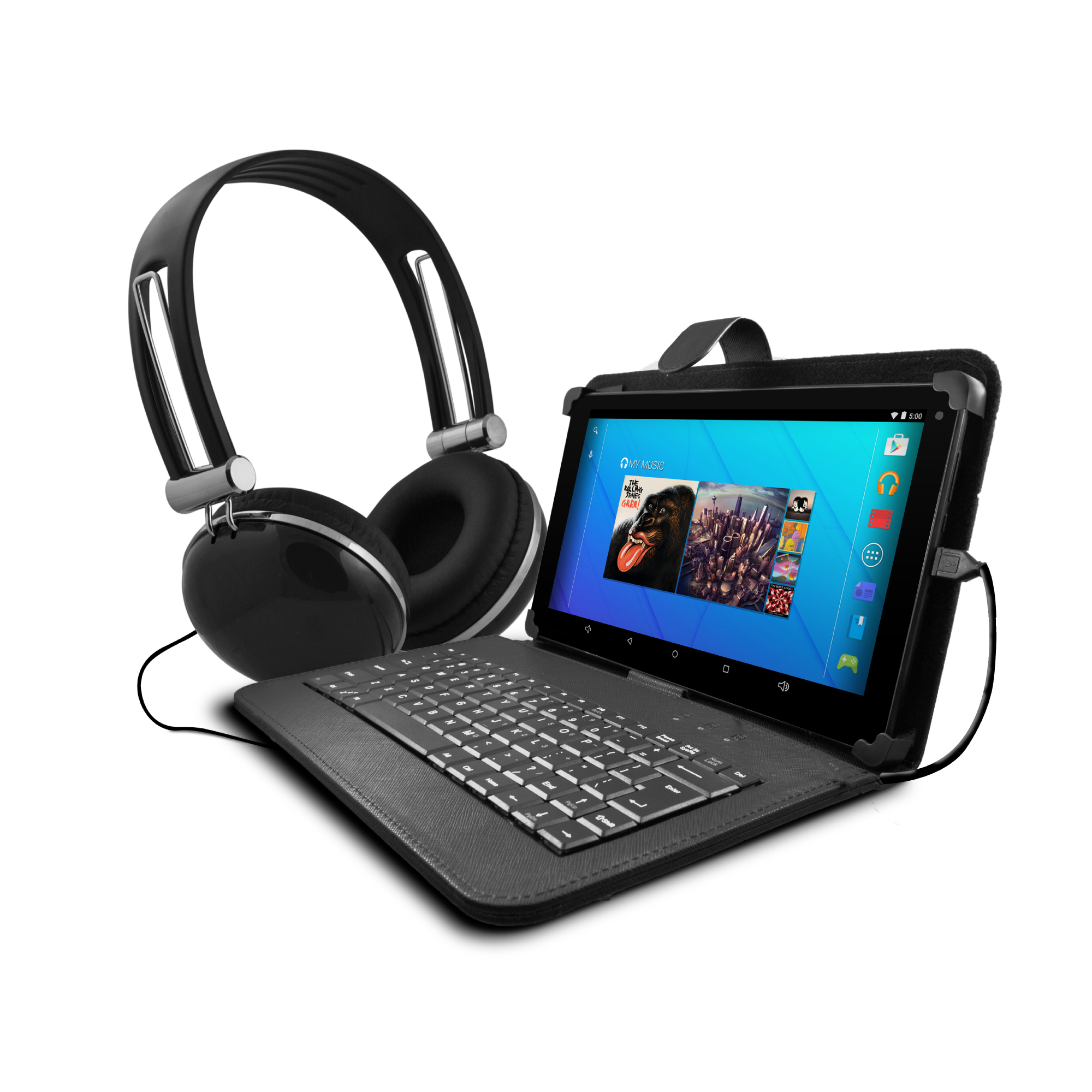 """Ematic 10"""" 16GB Tablet Android 5.1 (Lollipop) with Keyboard Folio Case and Headphones"""