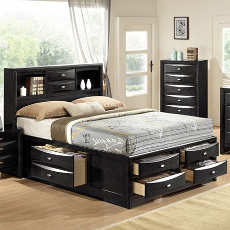 huge discount 12370 b8890 Costway Queen Size Bed Storage Bed Drawers Bookcase ...