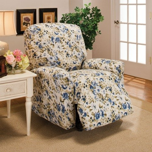 Madison Jersey Slipcover, Soft Stretch Form Fitting, RECLINER BLUE FLORAL