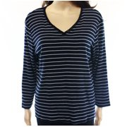 Charter Club NEW Blue White Striped Women's Size Large L Henley Blouse DEAL