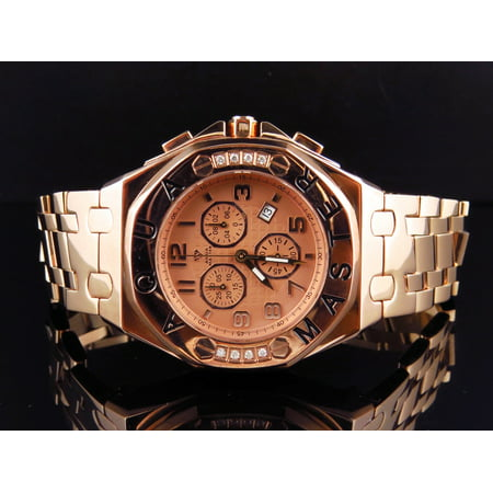Mens Aqua Master AP 45 MM Rose Stainless Steel Diamond Watch W#340 0.24 Ct ()