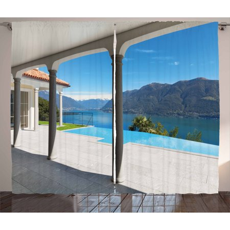 View Terrace - Italian Curtains 2 Panels Set, Lake Maggiore View From the Terrace Balcony of House with Pool Art, Window Drapes for Living Room Bedroom, 108W X 108L Inches, Turquoise Grey and White, by Ambesonne