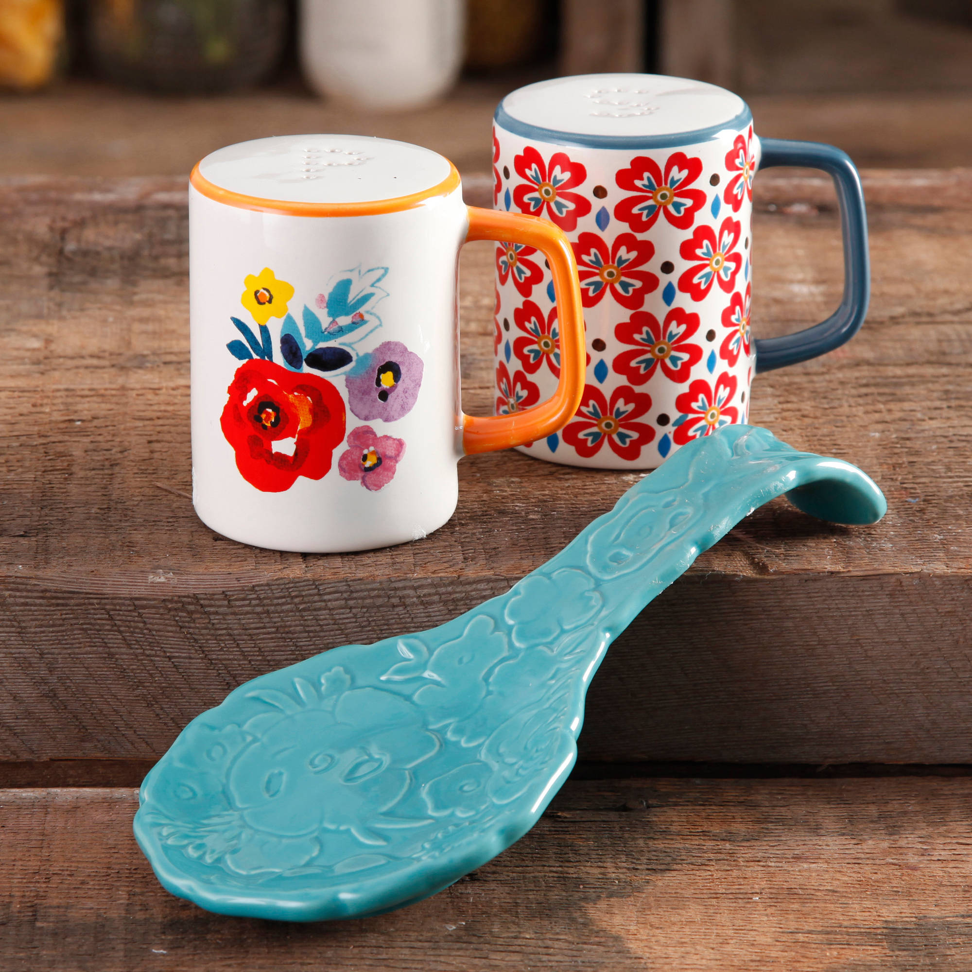 The Pioneer Woman Flea Market Stoneware Turquoise Spoon Rest & Salt And Pepper Set