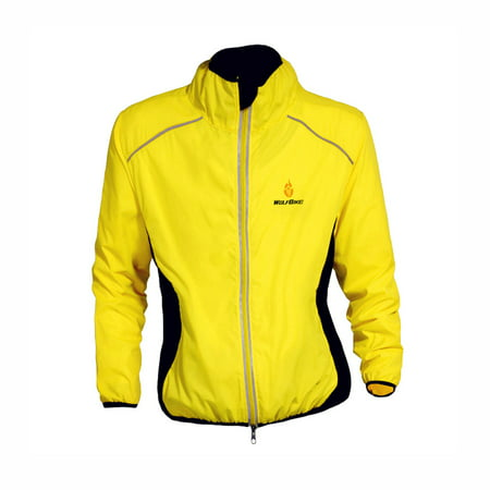 Long Sleeve Wind Jacket - WOLFBIKE Cycling Jersey Men Riding Breathable Jacket Cycle Clothing Bike Long Sleeve Wind Coat Yellow XL