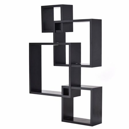 Clearance! Intersecting Squares Floating Shelf Wall Mounted Home Decor Furniture Black