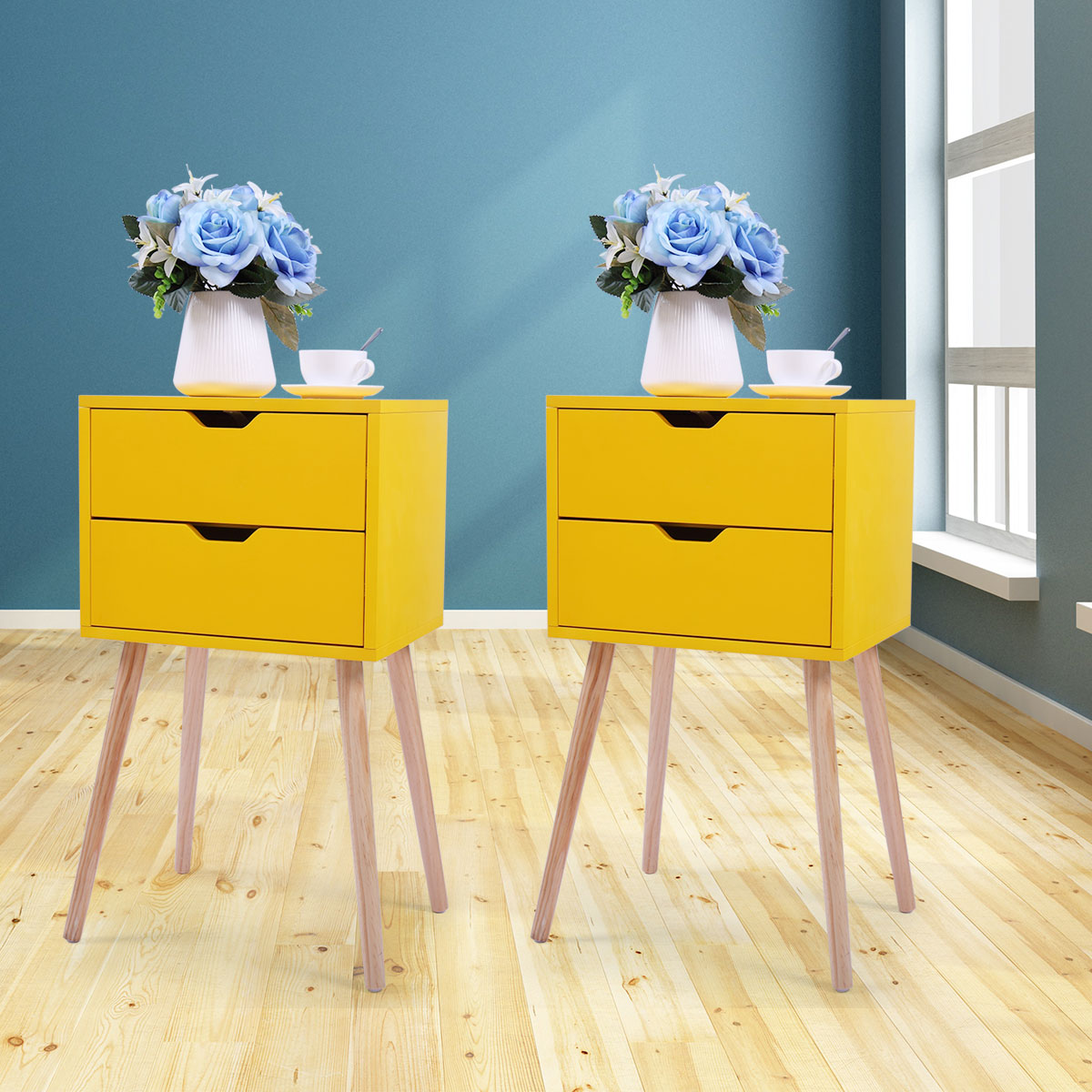 Jaxpety Set Of 2 Mid Century Modern Nightstand Bedside Table Sofa End Table Bedroom Decor 2 Drawers Storage With Solid Wood Legs Yellow Walmart Com Walmart Com