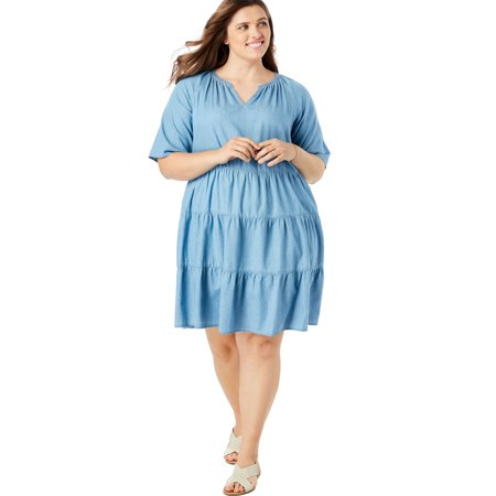 Woman Within - Woman Within Plus Size Cotton Tiered Trapeze Dress ...