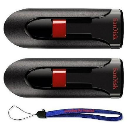 Pen Drive Laser Pointer Writing - SanDisk Cruzer Glide 64GB (2 Pack) USB 2.0/3.0 Flash Drive Jump Drive Pen Drive CZ60 - w/ (1) Everything But Stromboli (tm) Lanyard