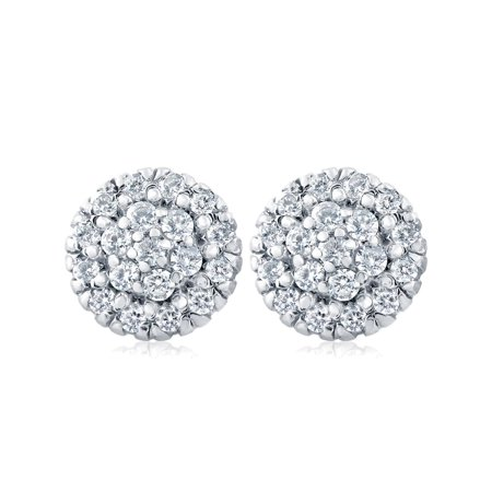- 1ct Pave Fire Diamond Studs 14K White Gold