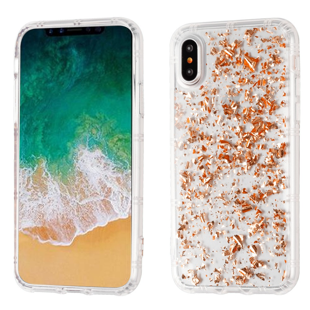MUNDAZE Rose Gold Glitter Flakes Case For Apple iPhone X