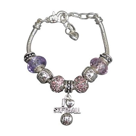 Softball Bracelet- Girls Softball Jewelry - Softball Beaded Bracelet- Perfect Gift for Softball Player, Softball Team and Softball Coaches - Softball Beads
