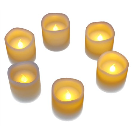 6-Pack Battery Operated Candles - Flickering Flameless LED Tea Light, Electric Votive Candle, Battery Power Fake Candles - Made of Real Wax, White, 2 x 2 (Light In The Box Real Or Fake)