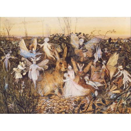 Image of Rabbit amongst the fairies Canvas Art - John Anster Fitzgerald (18 x 24)