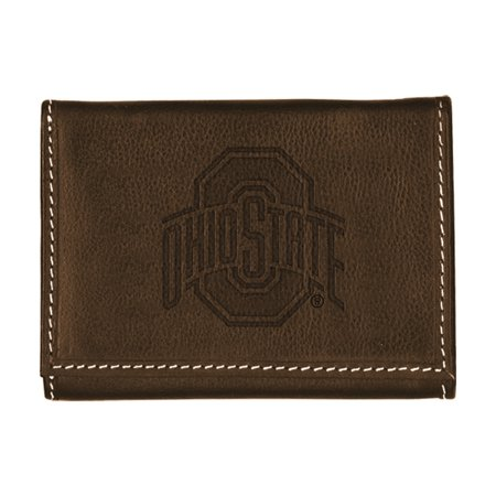 Ohio State University Contrast Stitch Trifold Leather
