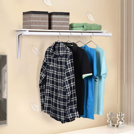 Pivoting Wall Mount Rack - Costway Wall Mount Folding Storage Shelf Utility Rack Holder Home Organizer Hanger