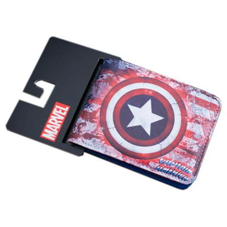 Superheroes Marvel Comics Avengers Captain America Shield Logo w/Flag Bi-fold Mens Boys Wallet with Gift Box