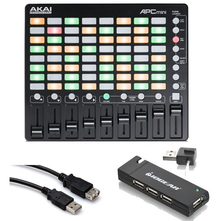 Akai Ram Upgrade - Akai Professional APC Mini Pad Controller + 4 Port USB Hub + Hosa Ext Cable 5 ft