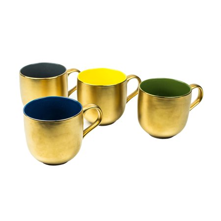 Yedi Gold Dipped Coated Coffee Tea Beverage Drink Mugs Set of 4 in Gift Box