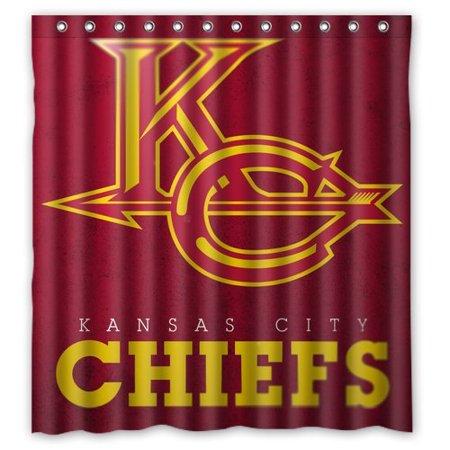DEYOU Kansas City Chiefs Shower Curtain Polyester Fabric Bathroom Size 66x72 Inch