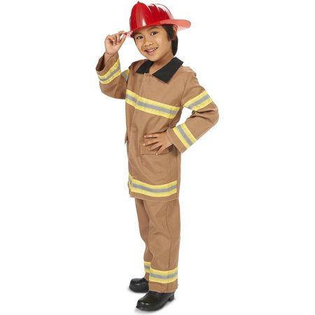 Wee Little Tan Firefighter with Helmet Child Halloween Costume](Tan Firefighter Costume)