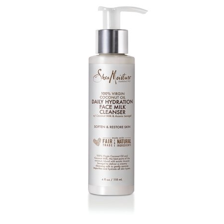 SheaMoisture 10% Virgin Coconut Oil Daily Hydration Facial Milk Cleanser, 4 (Facial Peeling Milk)
