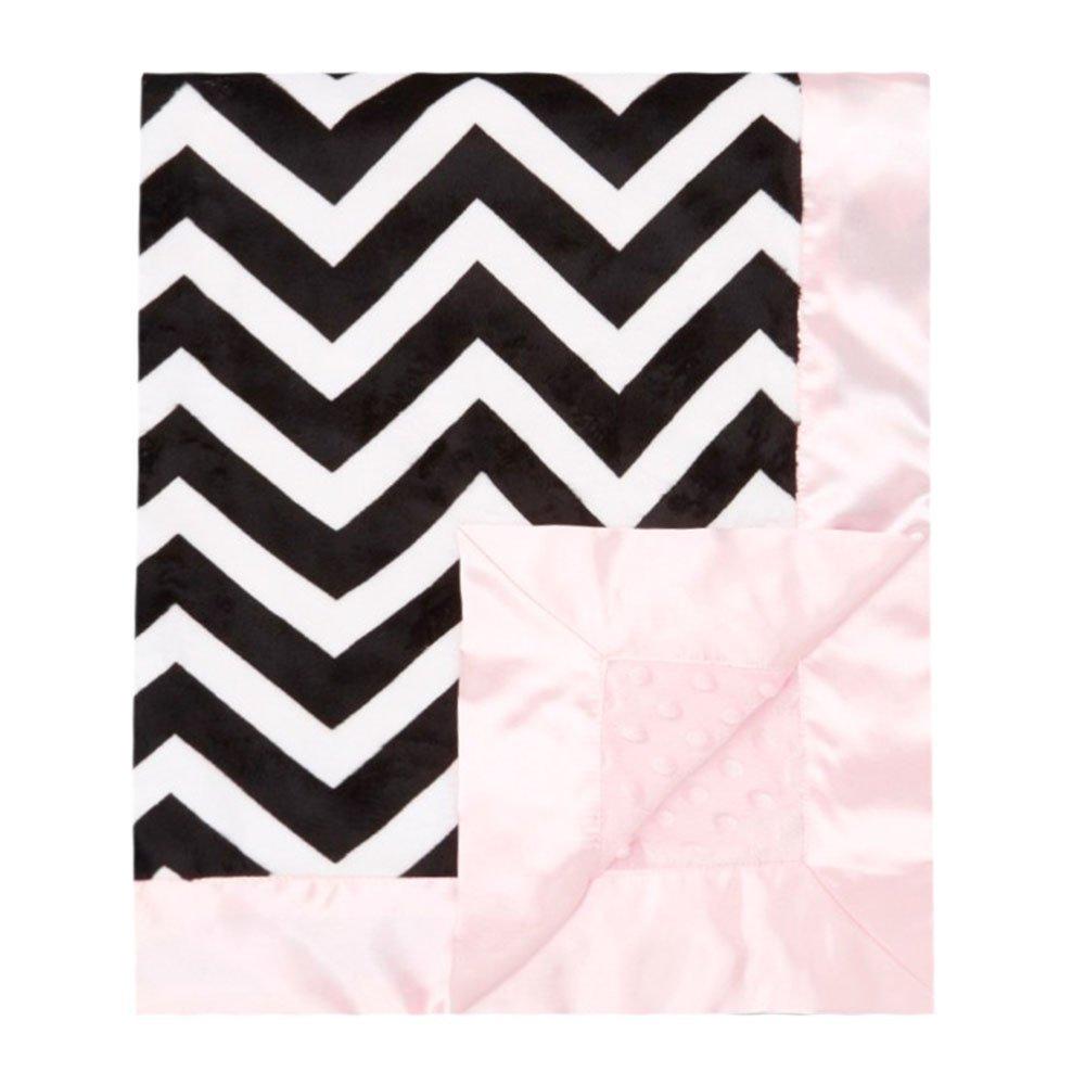 My Blankee Chevron Minky Black/White w/ Minky Dot Pink Ba...