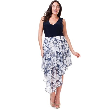Nyteez Womens Plus Size Navy Blue And White Flowing Dress