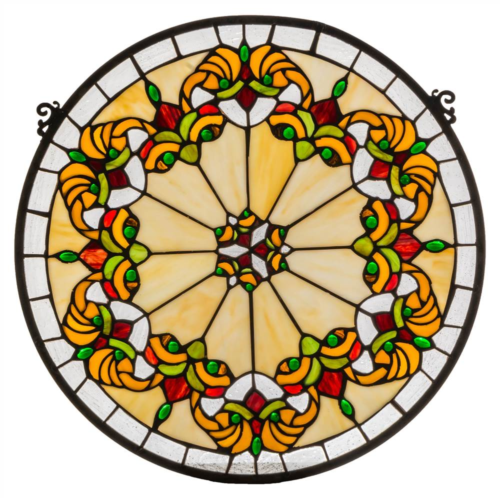 19 in. Middleton Medallion Stained Glass Window