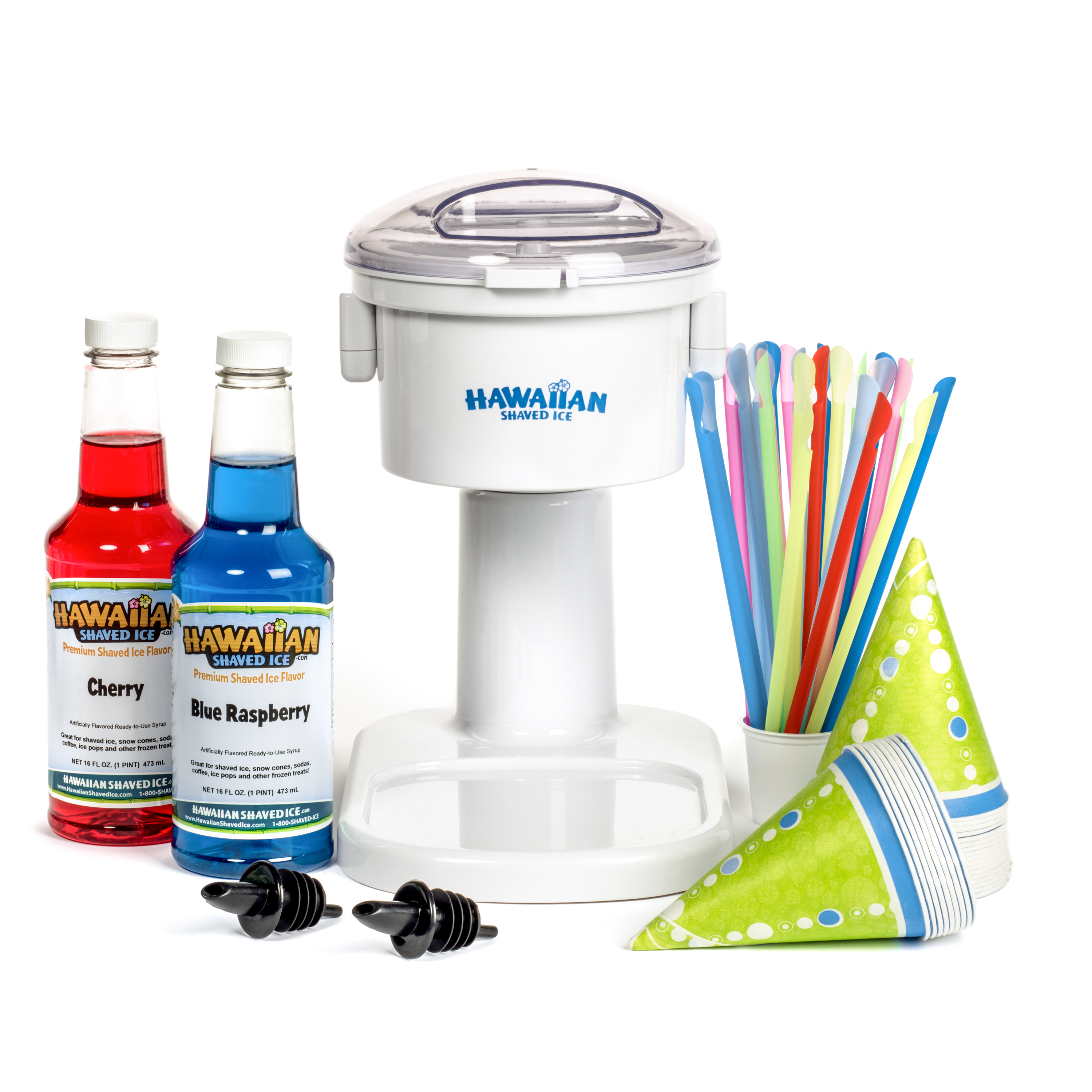 Kid-Friendly Snow Cone Machine Package with Syrup and Accessories | Hawaiian Shaved Ice