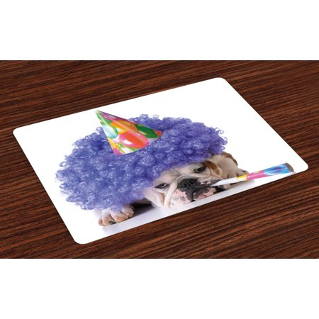 Kids Birthday Placemats Set of 4 Boxer Dog Animal with Purple Wig with Colorful Party Cone Funny Photo Print, Washable Fabric Place Mats for Dining Room Kitchen Table Decor,Multicolor, by Ambesonne