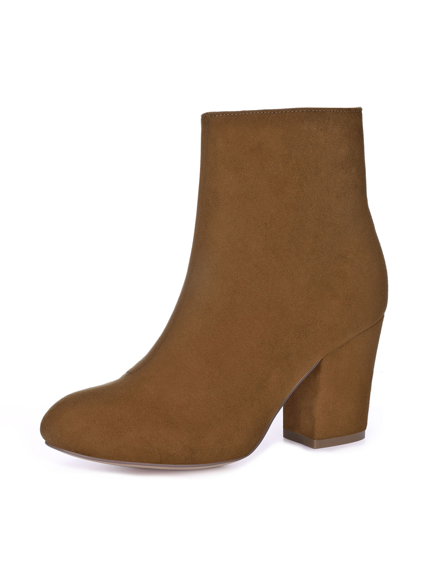 Unique Bargain Women's Round Toe Side Zipper Chunky Heel Ankle Boots Brown (Size 10)