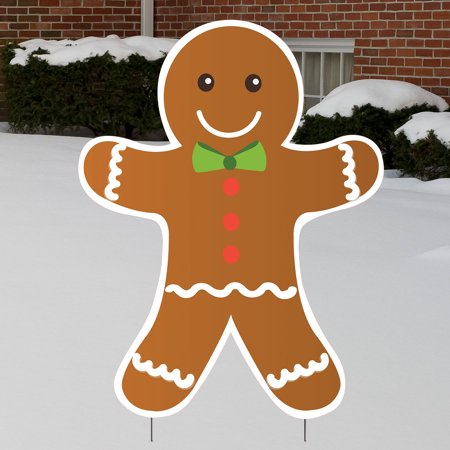 2 ft. Gingerbread Man Yard Sign Expression Icon Gingerbread Men Decor
