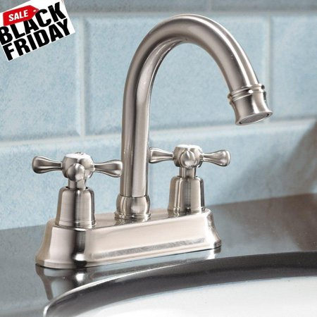 shaco modern double handle lavatory brushed nickel bathroom faucet ...