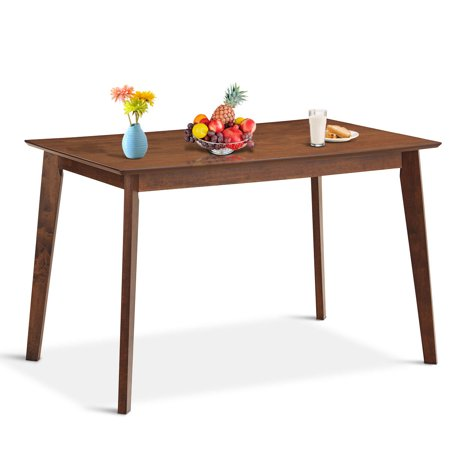 Gymax Mid Century Modern Dining Table Rectangular Tabletop Dining Room w/ Wood (Rectangular Leg Dining Table)