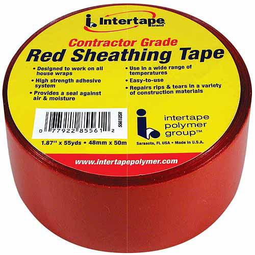 "Intertape Intertape Polymer Red Sheathing Tape, 2"" x 55 yds"