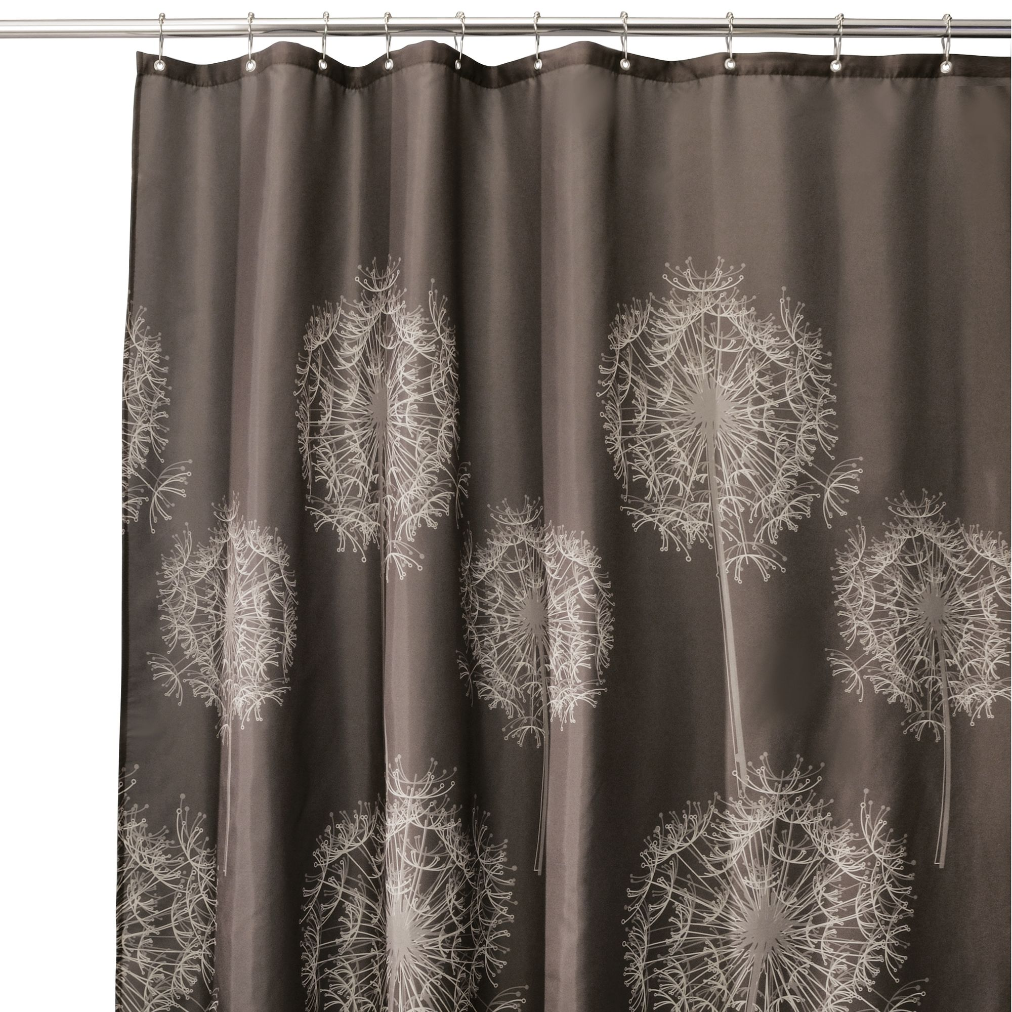"InterDesign Dandelion Fabric Shower Curtain, Standard 72"" x 72"", Cocoa Brown"
